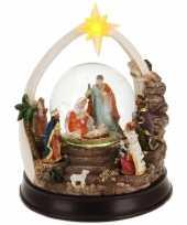 Kerst decoratie glitterbol sneeuwbol 23 cm type 2 met verlichting