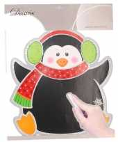 Kerst decoratie pinguin krijtbordje 31 x 38 cm