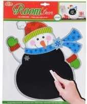 Kerst decoratie sneeuwpoppen krijtbordje 31 x 38 cm