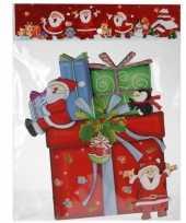 Kerst decoratie stickers 3d kadootje cadeautje 34 cm