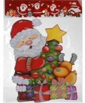 Kerst decoratie stickers 3d kerstman kerstboom 34 cm