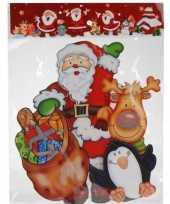 Kerst decoratie stickers 3d kerstman pinguin 34 cm