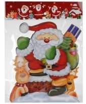 Kerst decoratie stickers 3d kerstman rendieren 34 cm