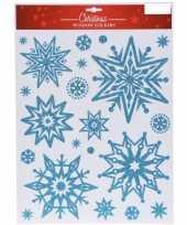 Kerst decoratie stickers blauwe glitter ijssterren plaatjes 30 x 40 cm 10137818