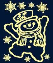 Kerst decoratie stickers sneeuwpop glow in the dark plaatjes 29 5 x 40 cm