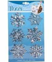 Kerst decoratie stickers zilveren sneeuwvlok ijsbloem 19 x 30 cm