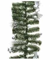 Kerst guirlande groen met zilveren versiering 180 cm dennenslinger versiering decoratie