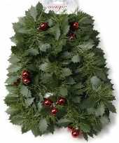 Kerst hulstslinger guirlandes met rode kerstballen 270 cm