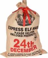 Kerst kado pakjeszak 24th december jute 100 cm