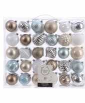 Kerst kerstballen mix 60 delig zilver champagne bruin en blauw