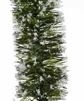Kerst lametta guirlande groen besneeuwd 7 x 270 cm kerstboom versiering decoratie