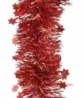 Kerst lametta guirlandes rood glitters glinsterendmet sterren 10 cm breed x 270 cm