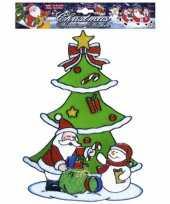 Kerst raamsticker sneeuwpop en kerstman