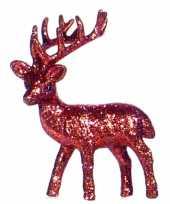 Kerst rendier rood met glitters 10 cm