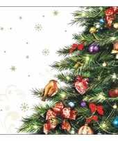 Kerst servetten met kerstboom 20 stuks