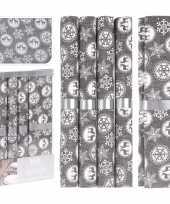 Kerst tafelaankleding tafeldecoratie grijze tafelloper met 5x placemats grijs 10189623