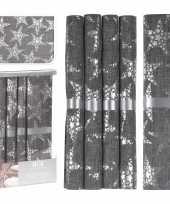 Kerst tafelaankleding tafeldecoratie grijze tafelloper met 5x placemats grijs