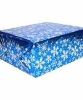 Kerst thema inpakpapier 3 rollen blauw zilver 150 cm