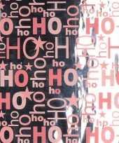 Kerst thema inpakpapier zilver roze 1 rol 200 cm