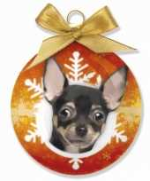 Kerstbal chihuahua 8 cm