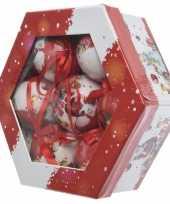 Kerstballen set met kerstman print 7 stuks 7 5 cm