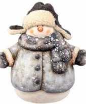 Kerstbeeldje sneeuwpop 19 cm met jas