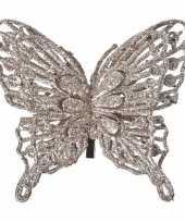 Kerstboom decoratie vlinder champagne 13 cm