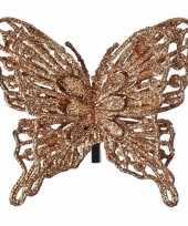 Kerstboom decoratie vlinder koper 13 cm