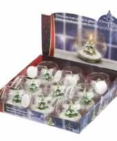 Kerstboom kaarsen in glas 10 x 8 cm