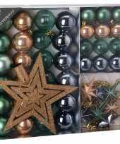 Kerstboomdecoratie 45 delig brons groen grijs