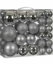 Kerstboomversiering pakket met 46x zilveren plastic kerstballen