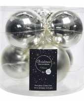 Kerstboomversiering zilveren kerstballen van glas 8 cm 6 stuks