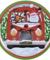 Kerstbord met bus print 25 cm