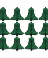 Kerstdecoratie boomversiering kerstklokjes groen 16 cm 10175400