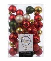 Kerstdecoratie kerstballen mix rood champagne goud en groen 33 delig kunststof