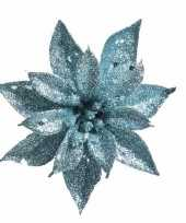 Kerstdecoratie kerstster turquoise op clip