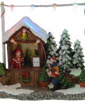 Kerstdorp kersthuisje kerstboom winkel kraam 16 cm met led lampjes