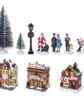 Kerstdorp maken kersthuisjes winkels en figuren 17delig met led lampjes