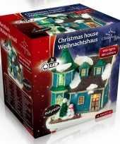 Kersthuis villa met led kerst decoratie 9 x 6 x 9 cm