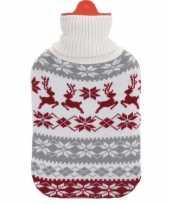 Kerstkruik grijs wit rood met rendieren kersttrui hoes