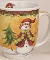 Kerstmokken met sneeuwman 11 cm