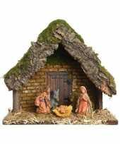 Kerststal met 5 kerstbeeldjes 23 cm