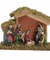 Kerststal met 6 figuren 15x20 cm
