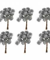 Kerststukje maken 6x bosje met 12 zilveren dennenappels