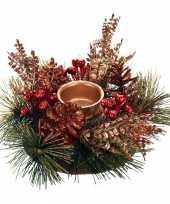 Kersttafel stukje rood goud 25 cm