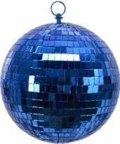 Kerstversiering 1x grote blauwe disco decoratie kerstballen
