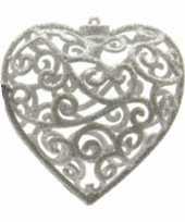 Kerstversiering decoratie hangers zilver grijze harten 10 cm
