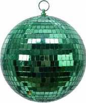 Kerstversiering kerstdecoratie 1x grote groene disco kerstballen