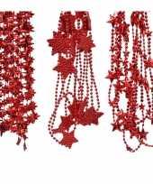 Kerstversieringen 3x rode kerstslingers kralenslingers 270 cm