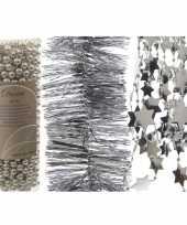 Kerstversieringen 3x zilveren kerstslingers set